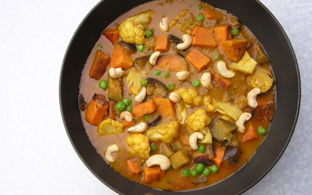 Aubergine Sweet Potato and Cashew Nut Curry