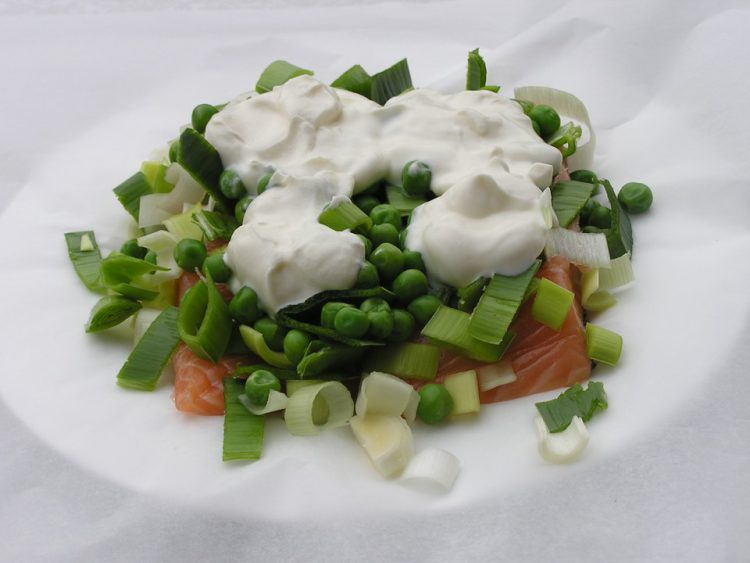Salmon with Leeks and Creme Fraiche